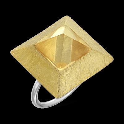 Inel argint aurit Mystic pyramid gold